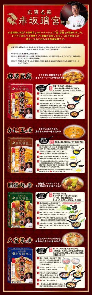 富士食品工業から発売された中華調味料の新シリーズ「広東名菜 赤坂璃宮(りきゅう)」(同社サイトより)