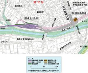 「長島大竹線」は亀甲橋(亀の子橋)に近い位置に設けられる北線の新横浜出入口と、新横浜大橋のたもとにある4車線道路「宮内新横浜線」を結ぶ620メートルの4車線道路