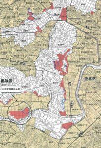 港北区とその周辺の線引き見直し予定エリア(赤色の部分、横浜市の資料より)※クリックで拡大