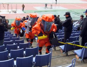 【訓練】テロなどの災害に対応した横浜消防の特殊部隊がスタンドに出動