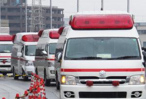 港北区内にある救急車は5~6台程度しかなく、ケガ人が相次ぐと対処が難しくなる