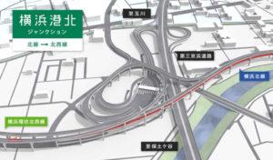 港北ジャンクションではきたせんと北西線がスムーズに直結するほか、両道から一般道へ出入りできる出入口も設けられる