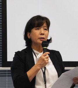 バイオコミュニケーションズ・ソリューション事業部の大重由津子さん。定期的にセミナーや健康管理・自己チェック体験会を行うので、ぜひ周辺企業の皆さんにお越しいただければとのこと