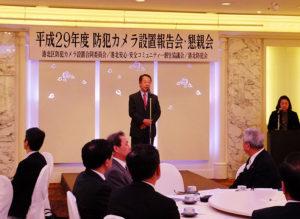 新横浜町内会の金子清隆会長が、防犯カメラを設置した経緯について報告。ラグビーW杯や東京オリンピック・パラリンピックに向け防犯体制を強化したいと語る