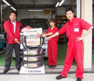 港北区唯一の「車検のコバック」港北樽町店(樽町3)に届いた「冬の怪物」YOKOHAMAタイヤ製スタッドレスタイヤの「アイスガード シックス(iceGUARD 6)」。取り寄せにて、10月1日より取付販売している