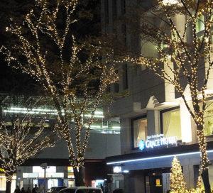 今年も3回目となる冬のライトアップが開始された新横浜グレイスホテル。新横浜駅・東海道新幹線の1番ホーム(東京行き)側からも眺められそうな場所にイルミネーションが輝く