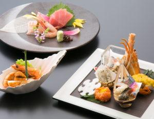 「季節の懐石堪能プラン」の料理の一部(イメージ)。料理長の「技」が詰まった、季節感じるコース料理に仕上げているとのこと(同ホテル提供)