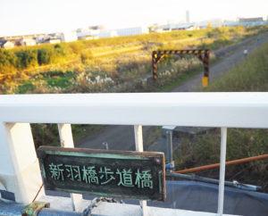 対岸に港北高校を眺めながら。橋名板の表記が、宮内新横浜線にある「新羽歩道橋」と酷似していることから「新羽人道橋」に改められる予定(2019年11月)