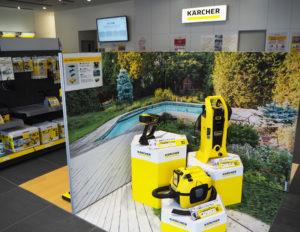 横浜アリーナや港北警察署にも近い「ケルヒャーセンター横浜」では、今月末(2020年1月末)まで「創業祭」を実施。昨年10月新発売の「バッテリーパワー」シリーズの3製品(右下)についてもアクセサリー付きの特別セットプランで販売している