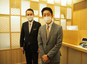 新しく生まれ変わった「日本料理ぎん」。多彩なシーンでの利用を、伴社長、岩井総支配人は呼び掛けている
