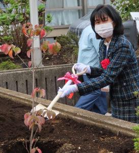 「赤か白か、ハナミズキの花が咲くのが楽しみ」と植樹への想いを語った栗田港北区長