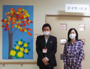 利用者やボランティアの人々の「季節感じる」作品の数々が館内に展示されている