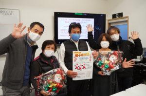 大豆戸町内会で初となる「リモートクリスマス祭」を12月19日(土)13時から開催。企画運営を行う片岡さん、宮内さん、吉田会長、瀧会長、本間さん(左から)