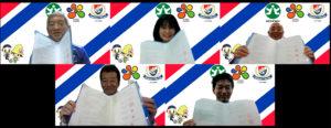 協定の締結はオンライン上で行われた。協定書を手に川島会長、酒井会長、栗田区長、宮本代表理事、黒澤社長(左より、港北区提供)