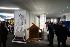 大相撲横浜アリーナ場所で行われた横綱武蔵山の展示。武蔵山は日吉出身で、現在も神奈川県出身唯一の横綱(2019年4月、林宏美さん撮影)