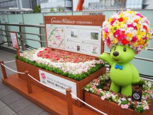 新横浜駅ペデストリアンデッキで来訪客を出迎える「横浜ガーデンネックレス」マスコットキャラクターのガーデンベア。新横浜駅前公園などとともに市内12カ所で「花と緑のデジタルスタンプラリー」も開催している