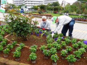 新横浜地区の「花と緑のまちづくり」の中心的な役割を担っている青木さん(左)(新横浜町内会提供)