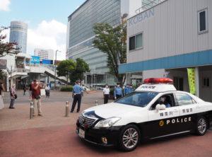 今週(2021年)9月21日からスタートした「秋の全国交通安全運動」にあわせ新横浜駅前交番で「出発式」がおこなわれた