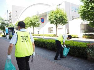 KOSE新横浜スケートセンター(新横浜2)やトラック会館(同)付近まで巡回。この日の清掃活動は約45分間行われた